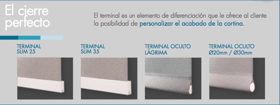 Terminales para cortinas enrollables